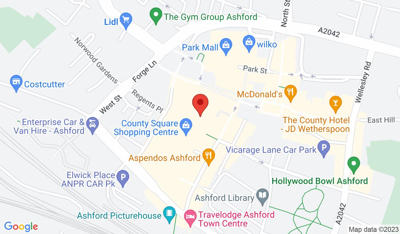 Google Map of F. Hinds the Jewellers, Ashford, UK