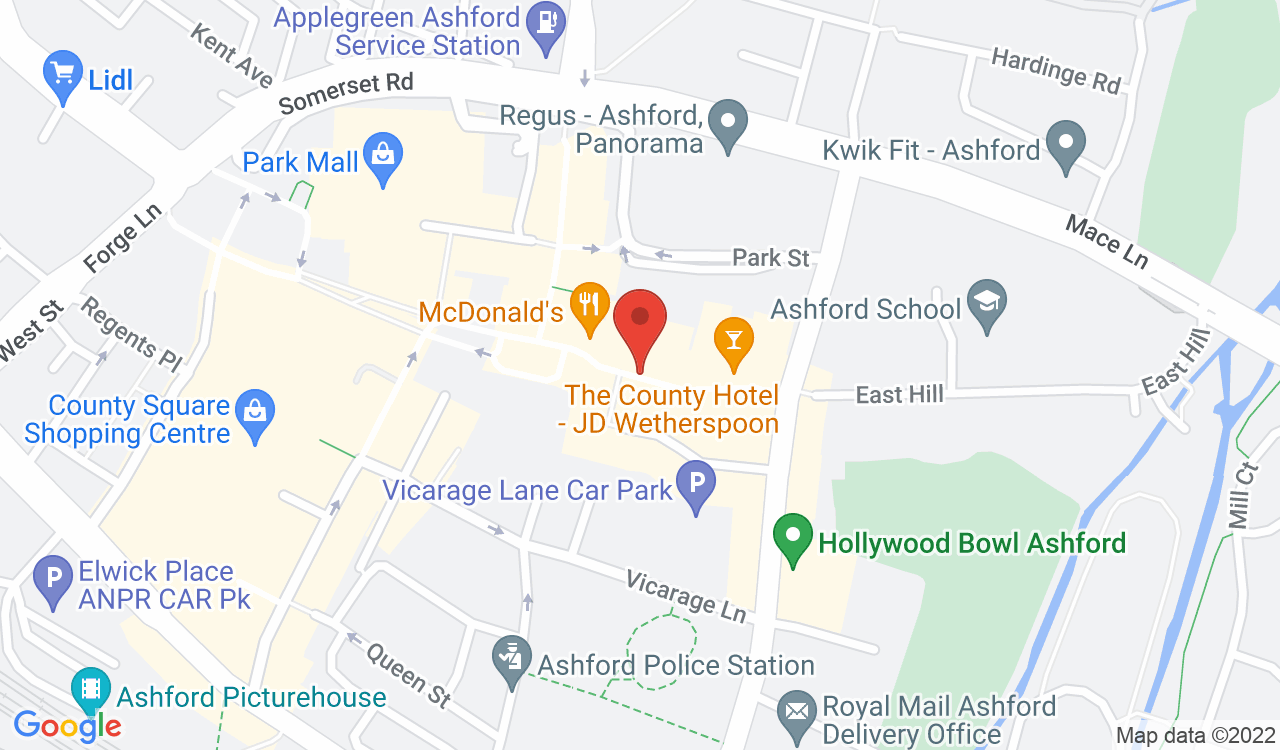 Google Map of Ashford Farmers' Market, Ashford, UK
