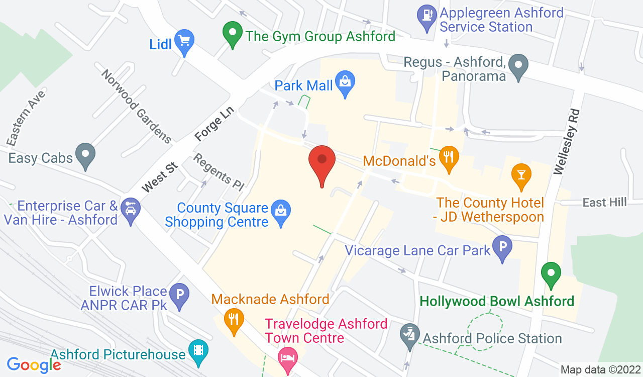 Google Map of Pandora, Ashford, UK