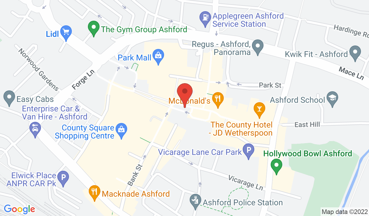 Google Map of The George Hotel, Ashford, UK