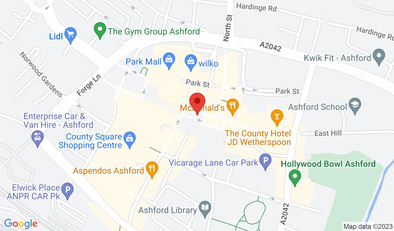 Google Map of The George Hotel, Ashford, UK
