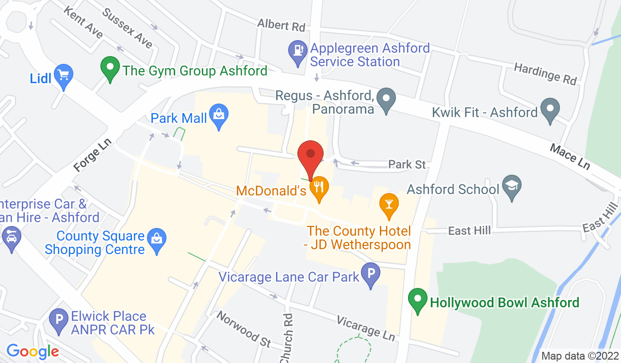Google Map of Kippy's Paint Your Own Pottery, Ashford, UK