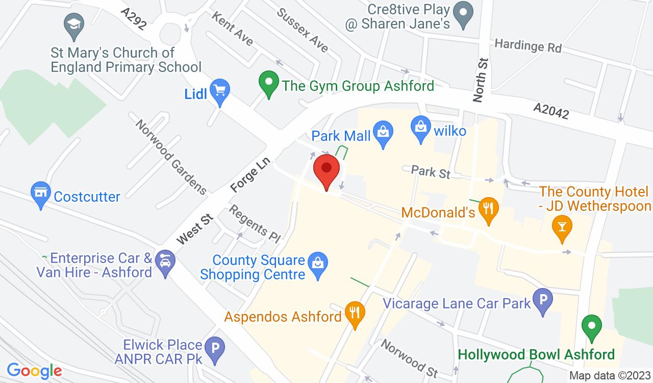 Google Map of Ashford Sewing Centre, Ashford, UK