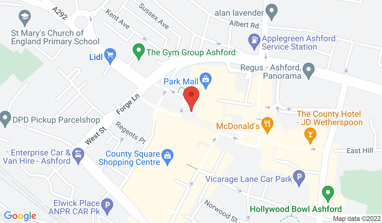 Google Map of Poppins Restaurant, Ashford, UK