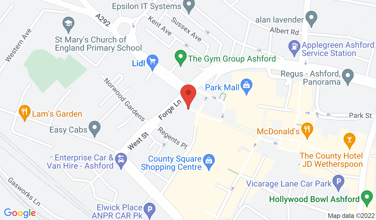 Google Map of Aji Japanese Restaurant, Ashford, UK