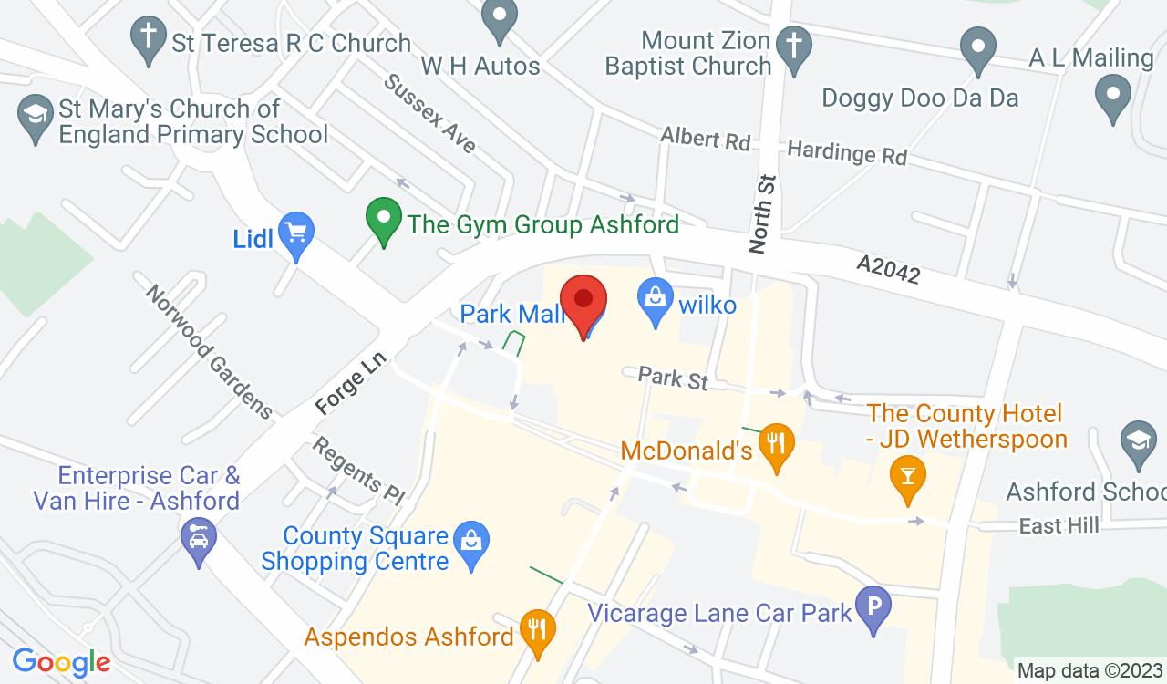 Google Map of Park Mall Shopping Centre, Ashford, UK
