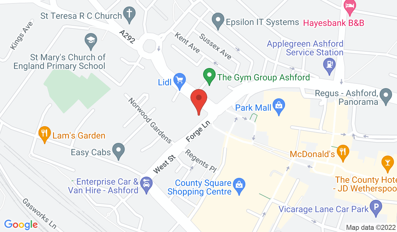Google Map of The Park Club Gym, Ashford, UK