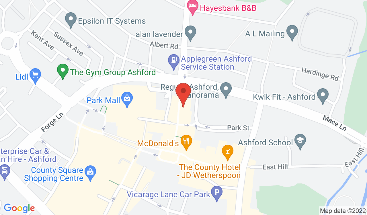 Google Map of Pizza Express, Ashford, UK
