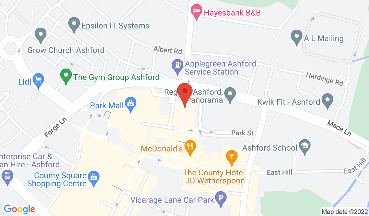 Google Map of Amici, Ashford, UK