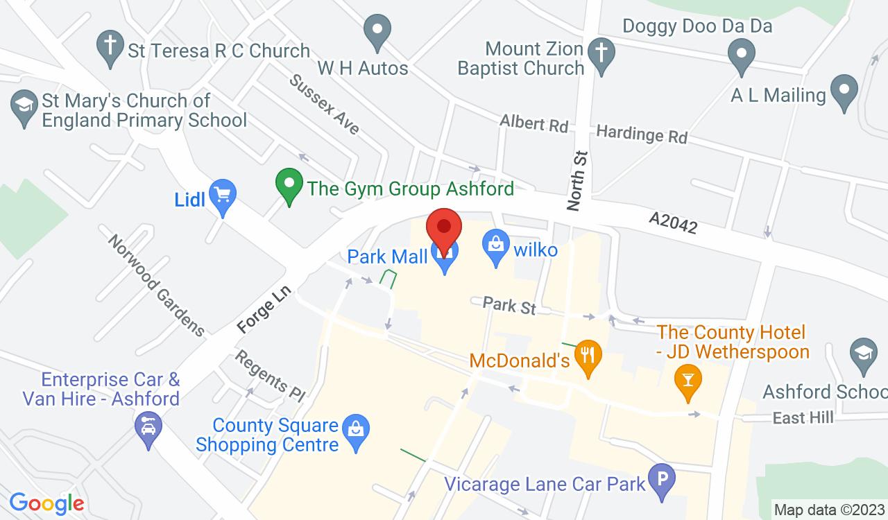 Google Map of Boots Opticians, Ashford, UK