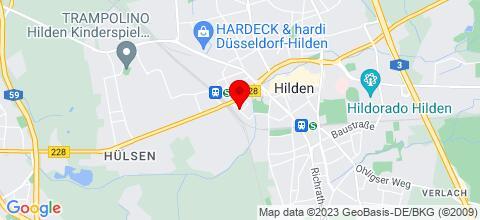 Google Map für Monteurzimmer Zentrum Hilden 4 Gehminuten S-Bahn entfernt ab sofort