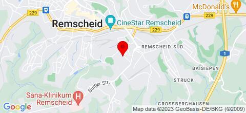 Google Map für Monteurwohnungen Remscheid