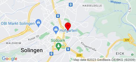 Google Map für Monteurwohnung Solingen