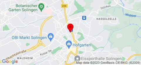 Google Map für Ferienwohnungen in Solingen