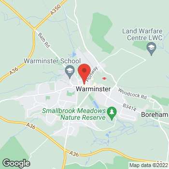 Map of The Co-operative Funeralcare at 3 George Street, Warminster, Wiltshire BA12 8QA