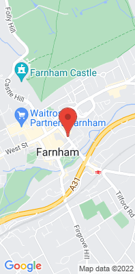 Map showing the location of the Farnham South Street monitoring site