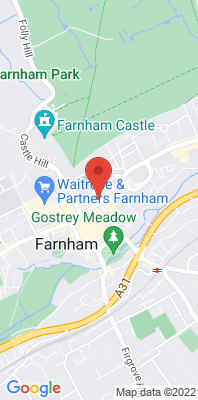 Map showing the location of the Farnham The Woolmead monitoring site