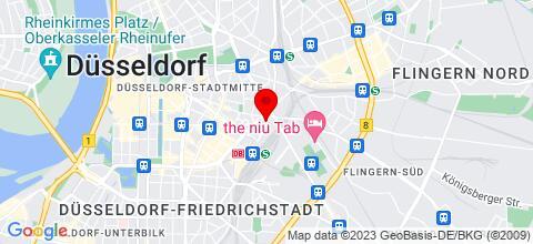 Google Map für FEWOs in Krefeld, Düsseldorf, Duisburg, Mülheim