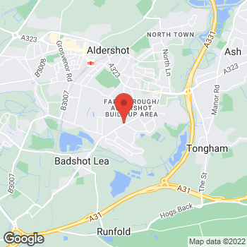 Map of The Co-operative Food Aldershot, Lower Farnham Road at 222 Lower Farnham Road, Aldershot, Hampshire GU12 4EN