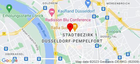 Google Map für Ferienwohnungen Düsseldorf und Ungebung