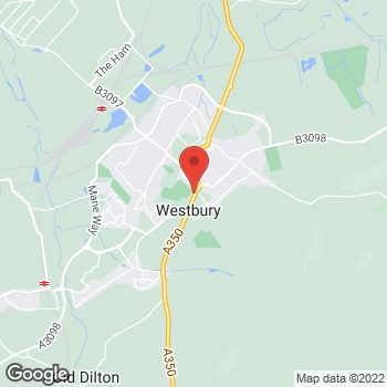 Map of The Co-operative Funeralcare - CLOSED at 48 Warminster Road, Westbury, Wiltshire BA13 3PF