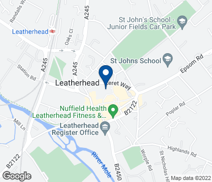 Map of 1 The Swan Shopping Centre in Leatherhead