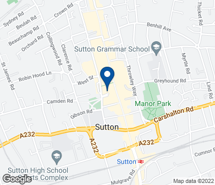 Map of 109-111 Sutton High Street in Sutton