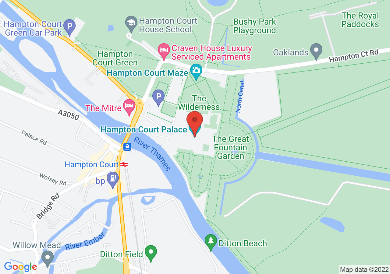 The location of Hampton Court Palace