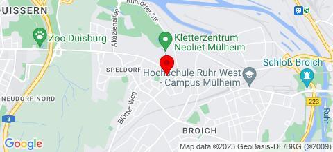 Google Map für 200 FeWos in Mülheim, Duisburg, Essen, Gelsenkirchen, D-dorf, K., F