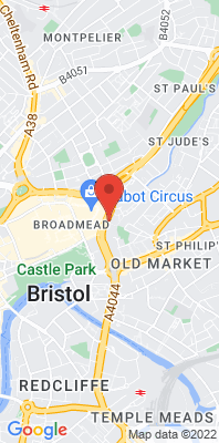 Map showing the location of the Bristol Temple Way monitoring site