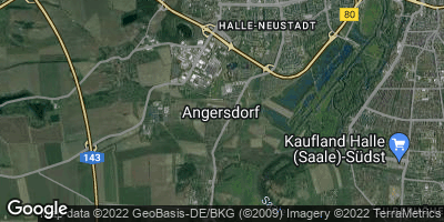 Google Map of Angersdorf bei Halle