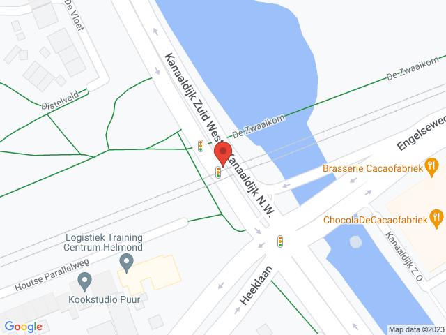 Werkzaamheden verkeerslichten Kanaaldijk Z.W.Wegafsluiting in verband met werkzaamheden aan de verkeerslichten. De Kanaaldijk Z.W. wordt in noordelijke richting afgesloten, verkeer in zuidelijke richting kan de werkzaamheden passeren met behulp van verkeersregelaars.