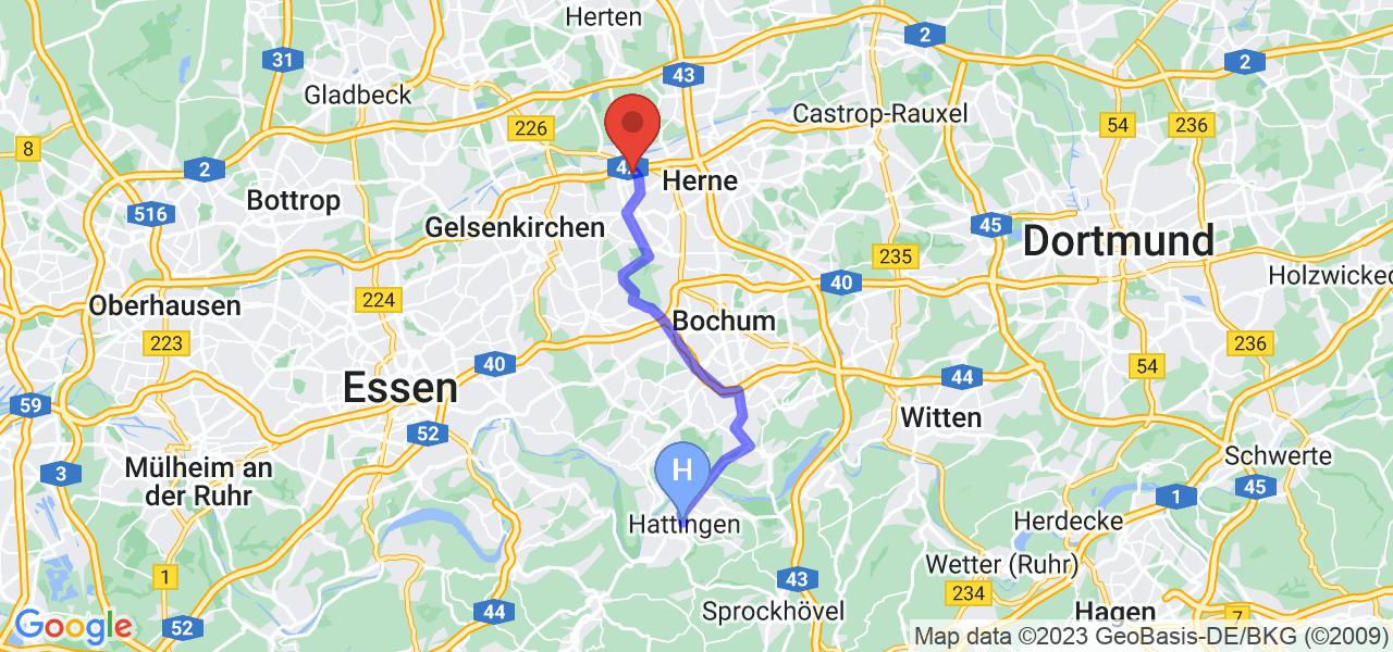 Route von Hattingen nach Herne, NRW - Ruhrgebiet
