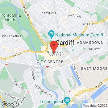 Map of Foot Locker Cardiff at 10-12 Town Wall, Saint Davids Centre, Cardiff,  CF10 2DQ