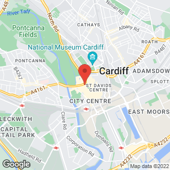 Map of STA Travel at 11 Duke Street (opp. Castle), Cardiff, South Glamorgan CF10 1AY
