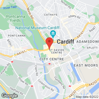 Map of Burger King at 12-14 St. John Street, Cardiff,  CF10 1GL