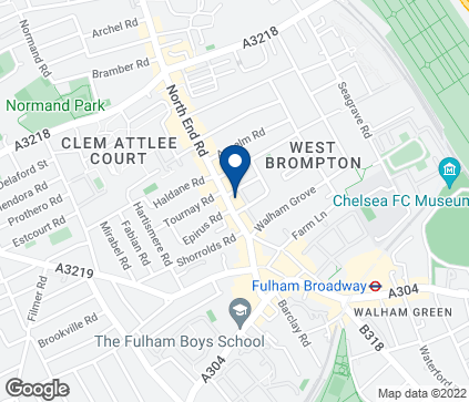 Map of 423 North End Road in Fulham