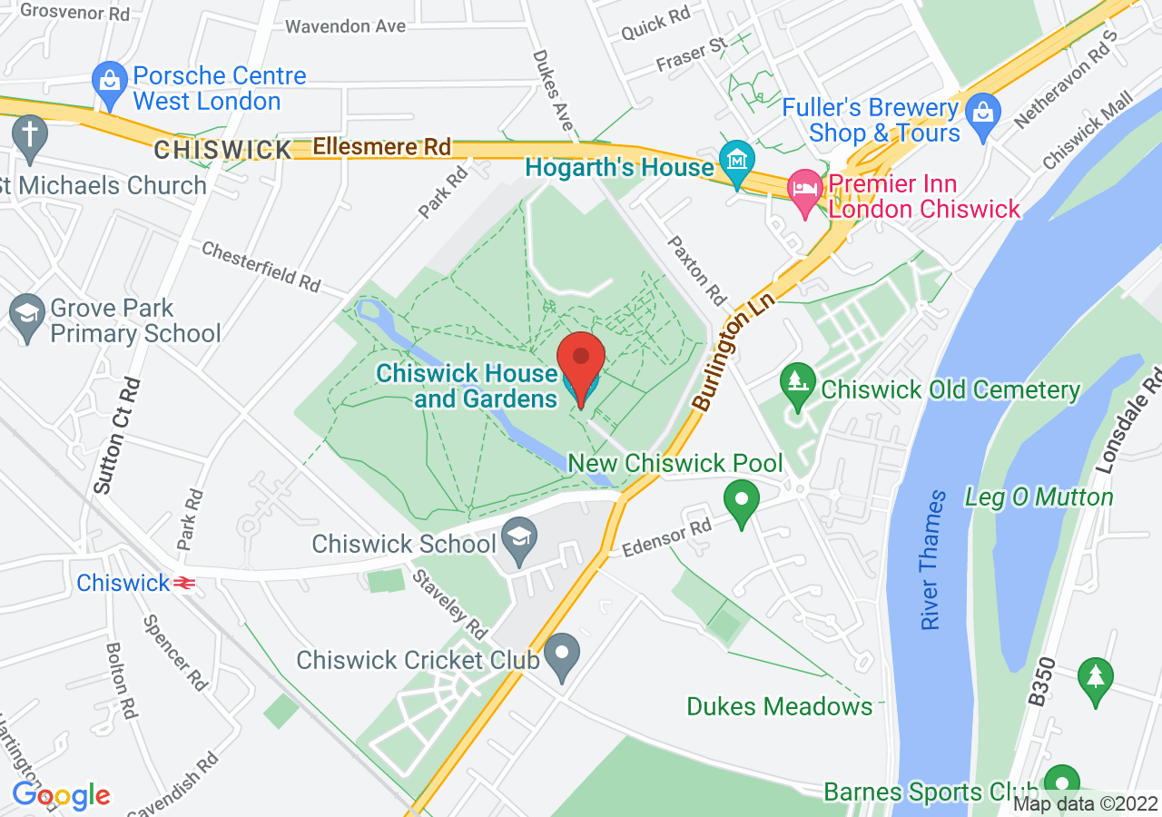 The location of Chiswick House and Gardens