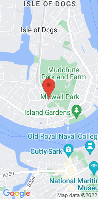 Map showing the location of the Tower Hamlets - Millwall Park monitoring site