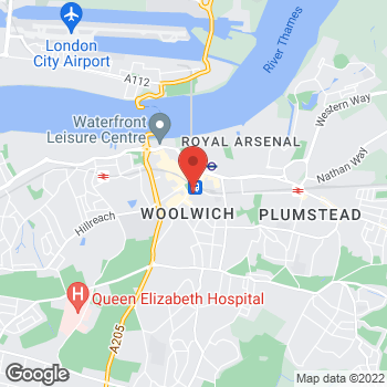 Map of wilko Woolwich (Closed) at 45 Woolwich New Road, Woolwich,  SE18 6EU