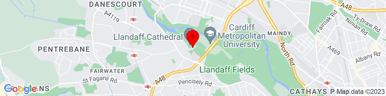 Google Map of 51.495197222222224, -3.2169777777777777