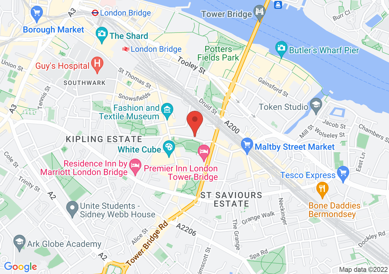 The location of Tanner Warehouse Bermondsey