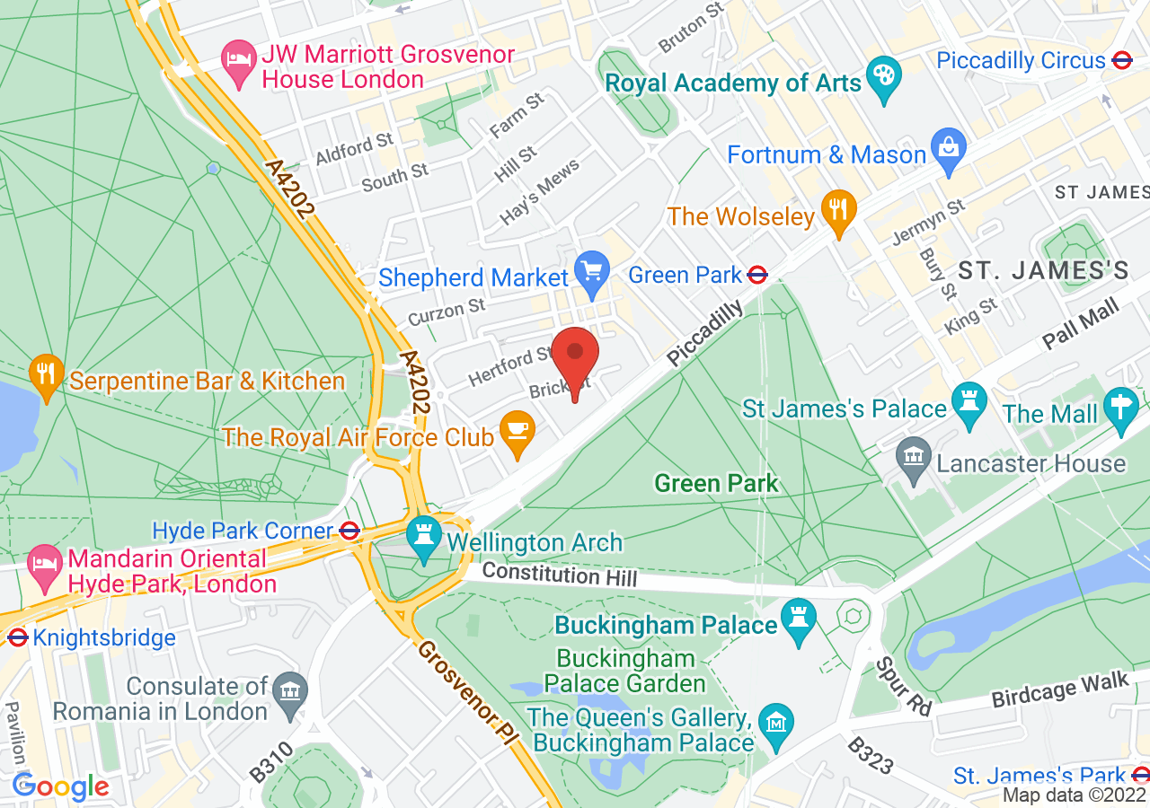 The location of Sheraton Grand London Park Lane