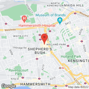 Map of Foot Locker White City at Westfield Mall, 20 Ariel Way, Unit 1101/1, White City,  W12 7GF