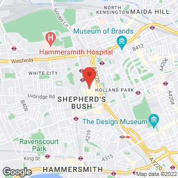 Map of Foot Locker White City at 20 Ariel Way, White City,  W12 7GF