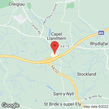 Map of Burger King at Junction 33, M4 Motorway, Pontyclun,  CF72 8SA