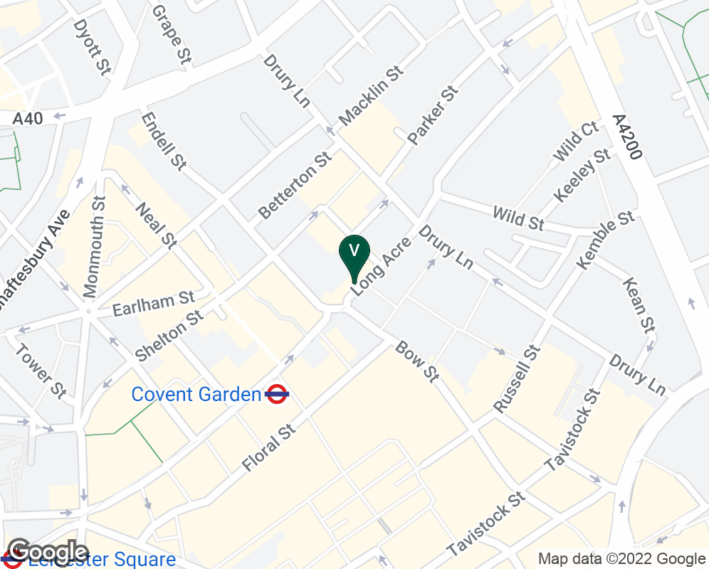 Google Map of 90 Long Acre, London, WC2E 9RA, UK