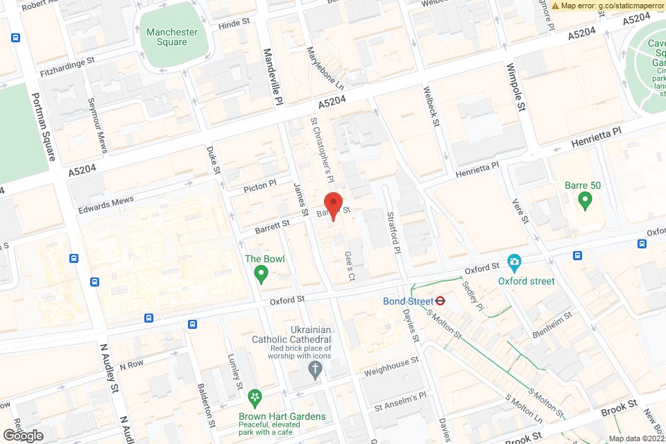 21-22 Barrett Street, London, W1U 1BF map