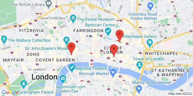 The Places of 1 King William Street, 20 Finsbury Circus and 265 Strand