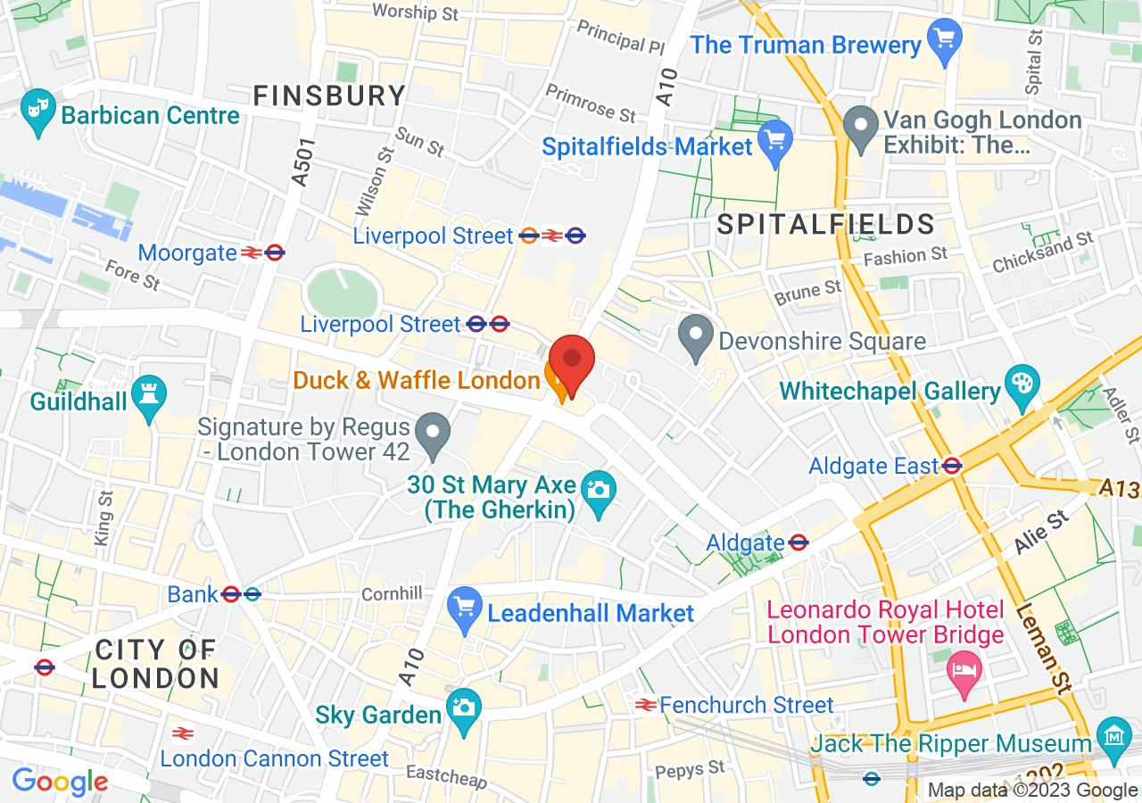 The location of SUSHISAMBA London Heron Tower